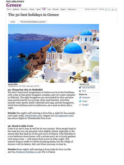 Chic Retreats on Times.co.uk