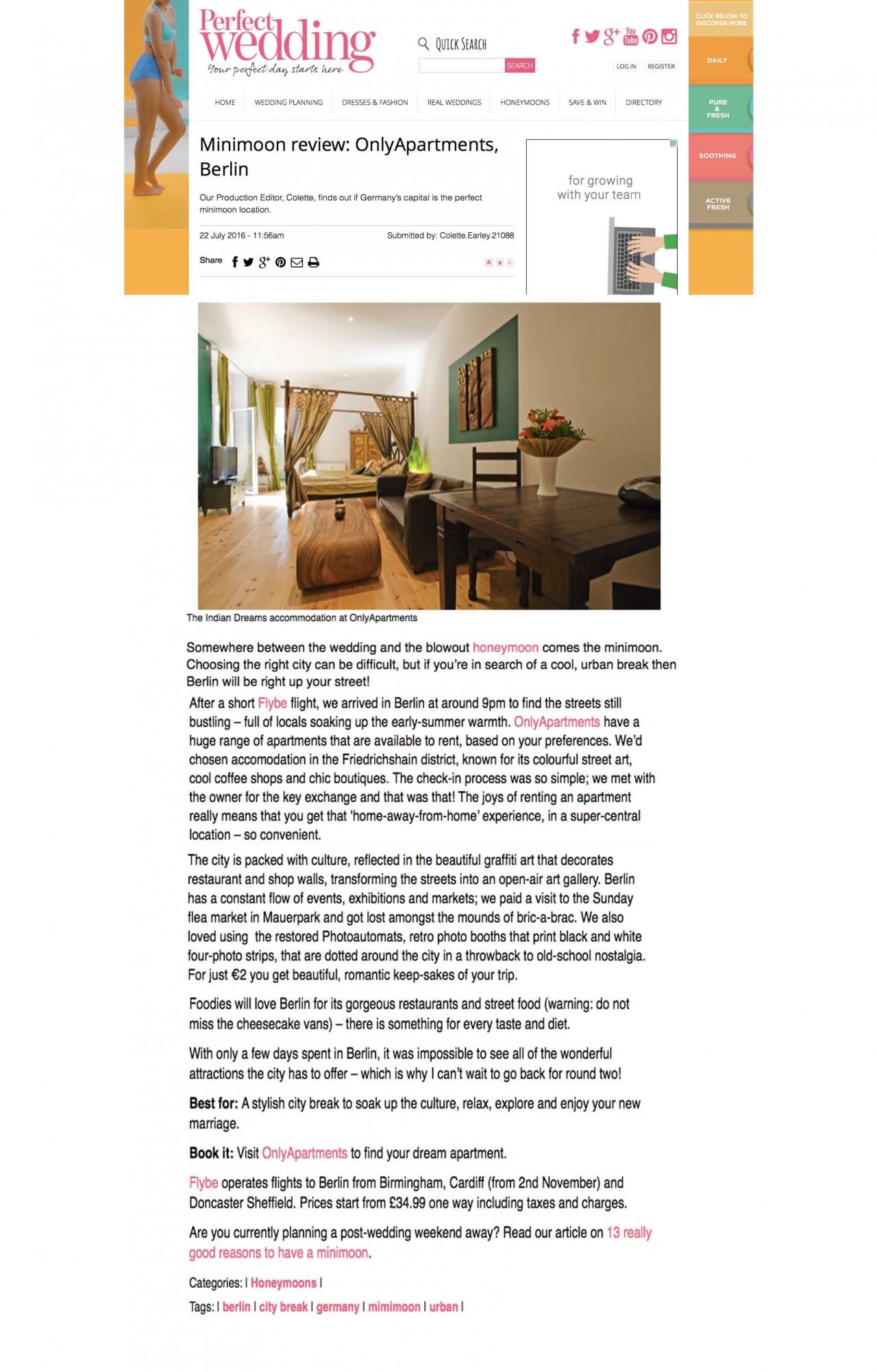 Only-apartments in Perfect Wedding magazine