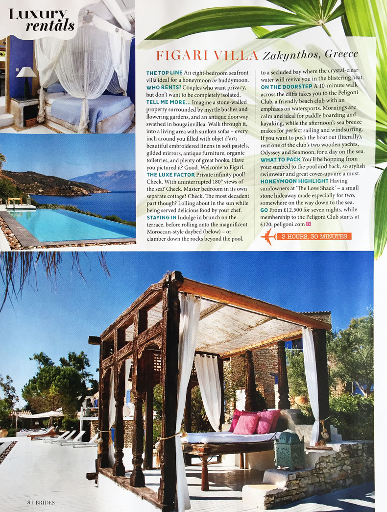 Liz Parry PR Travel coverage in Brides magazine
