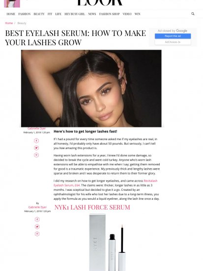 NYK1 LashForce serum in Look Magazine