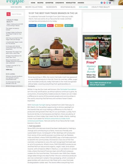Fair Squared in Veggie Magazine
