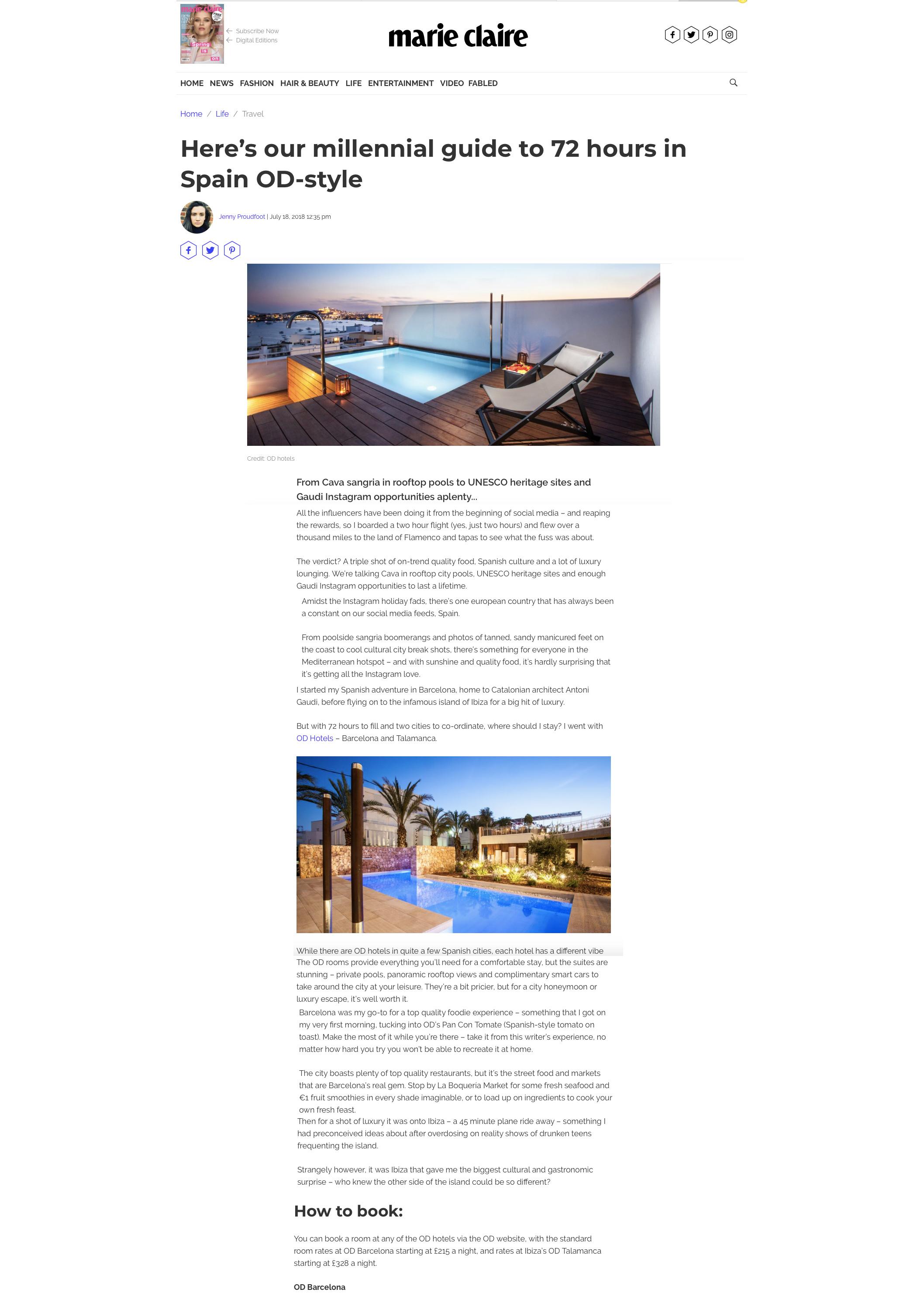 Marie Claire feature OD Hotels, Liz Parry PR