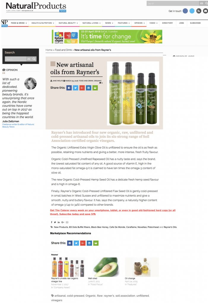 Natural Product News Rayners march 18