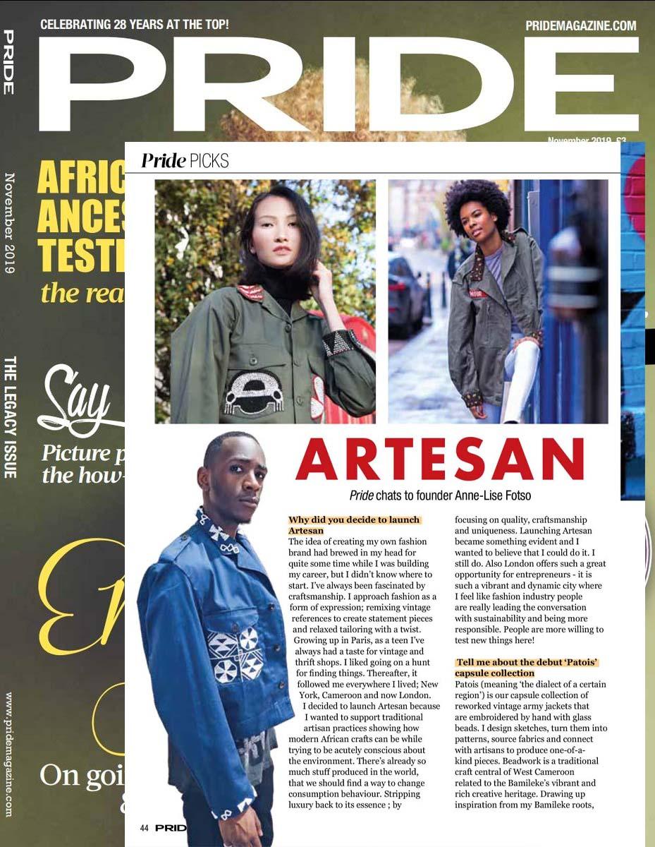 Artesan in Pride magazine