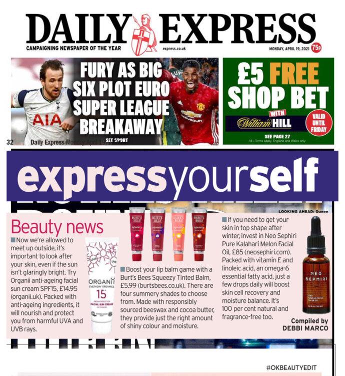 Organii sun cream featured in Daily Express