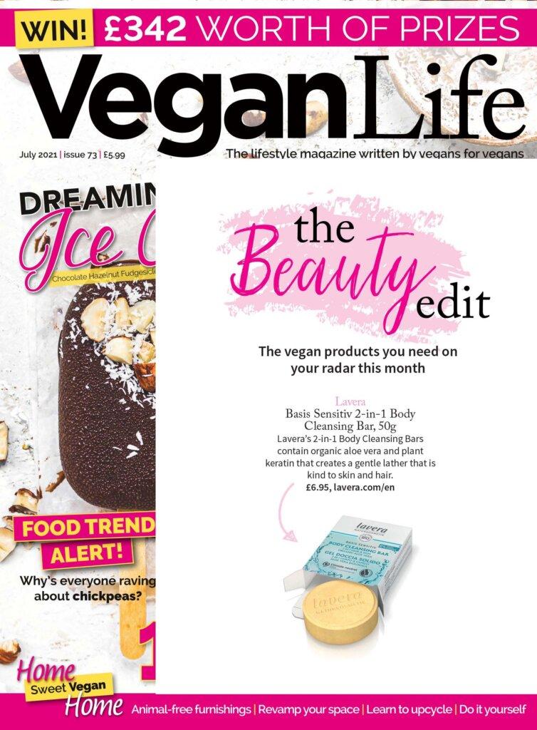 lavera's new body bars featured in Vegan Life Magazine